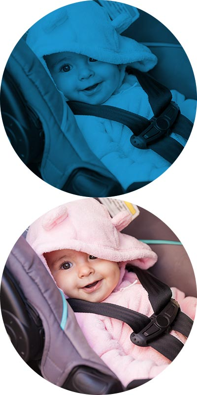 Smiling baby sitting in car seat
